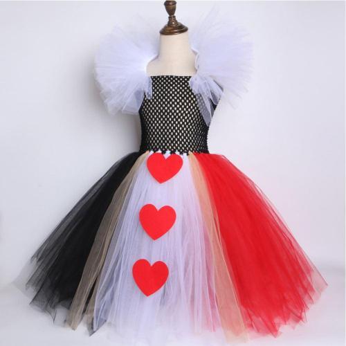 Kids Girls The Red Queen Tutu Dress Halloween Carnival Suit