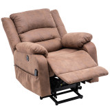Electric lift function chair with massage light brown PU combinationc