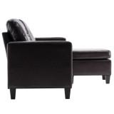 PU Combination Sofa Dark Brown