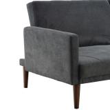 Backrest Recline Degree Three-speed Adjustment Backrest Diamond Stitching Fabric Dual Purpose Sofa Bed Dark Gray 200*86*81cm