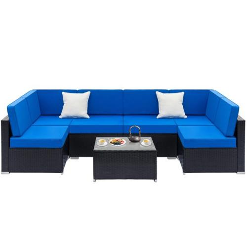 Fully Equipped Weaving Rattan Sofa Set with 2pcs Corner Sofas & 4pcs Single Sofas & 1 pcs Coffee Table Black