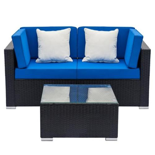 Fully Equipped Weaving Rattan Sofa Set with 2pcs Corner Sofas & 1 pcs Coffee Table Black