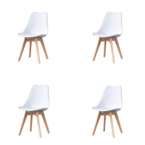 EDLMH Set of 4, ABS PP Nordic Dining Chair with Beech Wood Legs for Dining Room, Living Room, Office, Bedroom, White