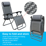 Outdoor Recliner Adjustable Folding Patio Lounge Chair w/Pillows and Cup Holder Trays For Beach Lawn Backyard Pool
