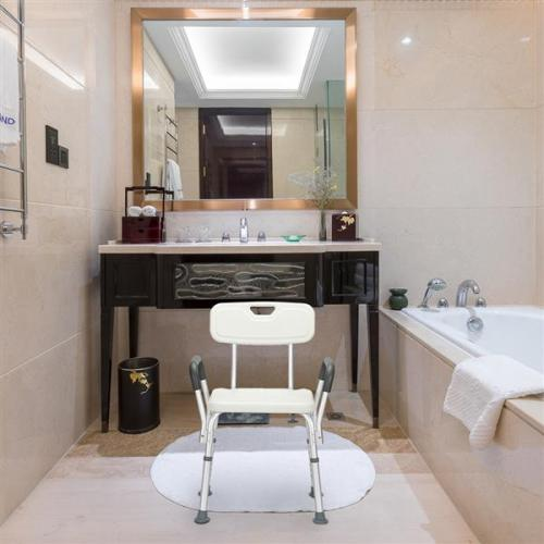 Aluminum Alloy Lifting Bath Chair 6 Files With Armrests With Backrest PE Seat Stool Rubber Floor Mat White