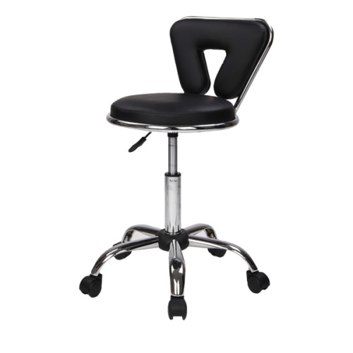 Hydraulic Rolling Swivel Salon Stool Chair Height Adjustable Home Spa Massage Manicure Facial Stool with Backrest and Wheels,Black/White