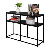 Industrial Style Porch Table Double Black Oak Triamine Board [105 * 36 * 76cm]