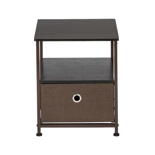 Nightstand 1-Drawer Shelf Storage- Bedside Furniture & Accent End Table Chest For Home, Bedroom, Office, College Dorm, Steel Frame, Wood Top, Easy Pull Fabric Bins Brown/Grey