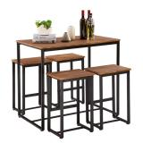Simple Eucalyptus Pattern 87cm High Bar Table And Chair Set Of 5 [100 x 60 x 87cm]