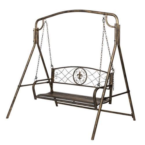 Artisasset Paint Brush Gold Old Outdoor Garden Double Swing Chair Black