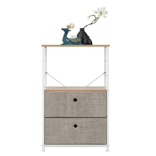 Nightstand 2-Drawer Shelf Storage - Bedside Furniture & Accent End Table Chest For Home, Bedroom, Office, College Dorm, Steel Frame, Wood Top, Easy Pull Fabric Bins, Linen / Natural