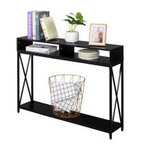 Industrial Style Porch Table Side Cross, 3-layer Black Oak Triamine Board [108*23*76cm]