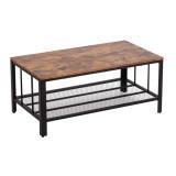 Bonnlo (104 x 58 x 46cm) Industrial Style Double-Layer Coffee Table Rectangular Rectangular Triamine Plate Iron Mesh