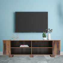TV Stand for TVs up to 65-Inch Flat Screen, Mid-Century Modern Entertainment Center with 8 Open Shelves, Universal TV Storage Cabinet for Living Room Bedroom, TV Console Table, Brown
