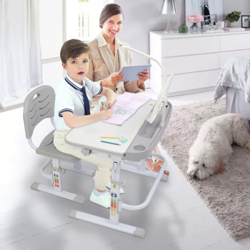 70CM Lifting table top can tilt children's study desk and chair gray (with reading frame and USB lamp)
