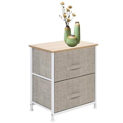 2 Drawers -Night Stand, End Table Storage Tower - Sturdy Steel Frame, Wood Top, Easy Pull Fabric Bins - Organizer Unit For Bedroom, Hallway, Entryway, Closets - Textured Print, Linen / Natural
