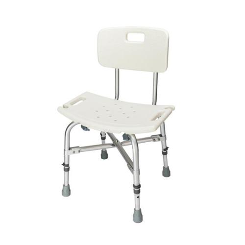 FCH Medical Bathroom Safety Shower Tub Heavy Duty Aluminium Alloy Bath Chair Bench with Back White