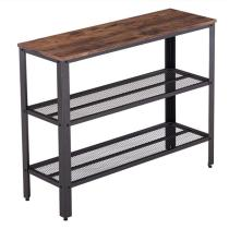Industrial Style Three-Layer Cross Porch Table Two-Layer Iron Net Black Walnut Color (101.5 x 35 x 80 cm)