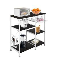 35.5  Kitchen Baker's Rack Utility Storage Shelf Microwave Stand 3-Tier 3-Tier Table For Spice Rack Organizer Workstation Dark Brown