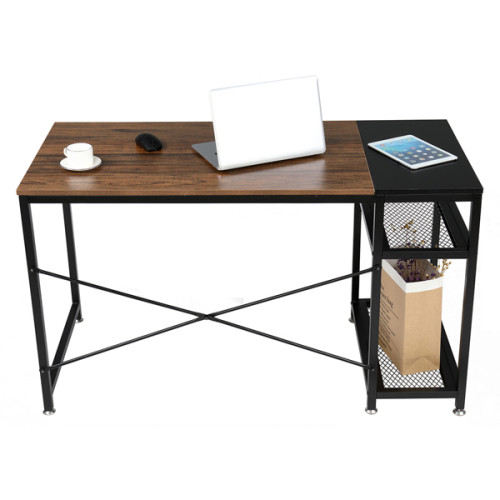 FCH 51  Study Computer Desk Home Office Writing Desk PC Table with 2 Shelves Rustic Brown & Black