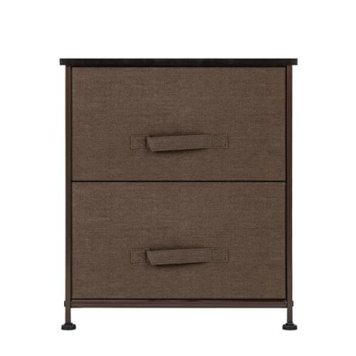 2 Drawers -Night Stand, End Table Storage Tower - Sturdy Steel Frame, Wood Top, Easy Pull Fabric Bins - Organizer Unit For Bedroom, Hallway, Entryway, Closets - Textured Print, Brown