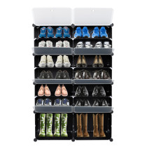 7-Tier Portable 28 Pair Shoe Rack Organizer 14 Grids Tower Shelf Storage Cabinet Stand Expandable for Heels, Boots, Slippers, Black