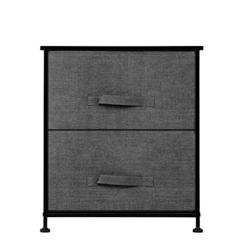 2 Drawers -Night Stand, End Table Storage Tower - Sturdy Steel Frame, Wood Top, Easy Pull Fabric Bins - Organizer Unit For Bedroom, Hallway, Entryway, Closets - Textured Print, Grey