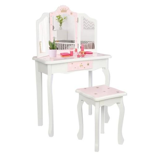 Wooden Toy Children's Dressing Table Three Foldable Mirror/Chair/Single Drawer Pink Star Style