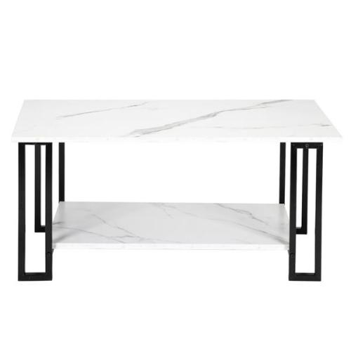 Artisasset 2 Layers 1.5cm Thick MDF Imitation Marble Rectangle Tabletop Iron Coffee Table White