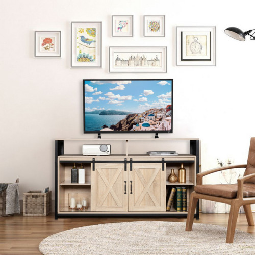 FCH 4-layer Double Barn Door with Sliding Rail X-shaped Panel TV Cabinet Industrial Wind MDF with Triamine White Oak Color