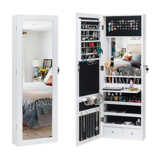 Non Full Mirror Wooden Wall Hanging 3-Layer Shelf, 2 Drawers, 17 Cosmetic Brush Holders, 95 White LED Lights With Interior Mirror, Jewelry Storage Mirror Cabinet - White