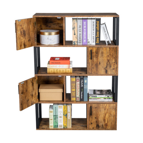 Bookcase with 4 Storage Cabinet, 4 Tier Bookshelf for Living Room, Office, Storage Oraganizer with 4 Cube, Rustic Brown