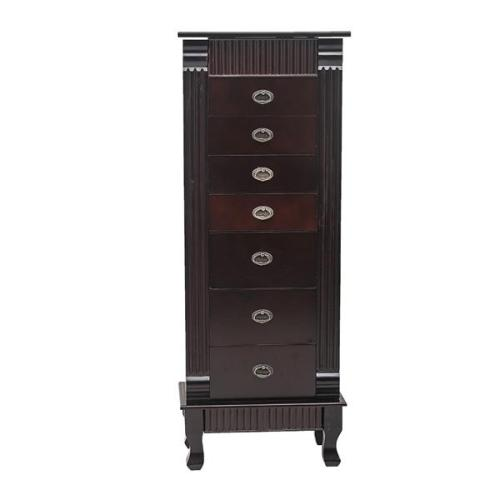 Standing Jewelry Armoire Cabinet Makeup Mirror and Top Divided Storage Organizer, Large Standing Jewelry Armoire Storage Chest with 7 Drawers, 2 Swing Doors,16 Necklace Hooks, Dark Brown   Beige Flann