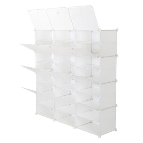 8-Tier Portable 48 Pair Shoe Rack Organizer 24 Grids Tower Shelf Storage Cabinet Stand Expandable for Heels, Boots, Slippers, White