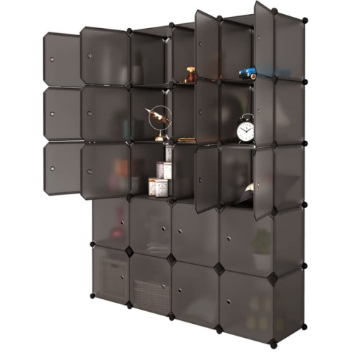 20 Cube Organizer Stackable Plastic Cube Storage Shelves Design Multifunctional Modular Closet Cabinet with Hanging Rod Brown