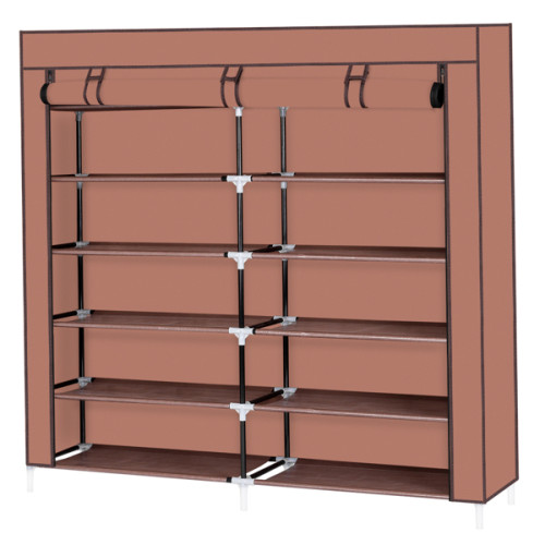 7 Tiers Portable Shoe Rack Closet Fabric Cover Shoe Storage Organizer Cabinet Mocha