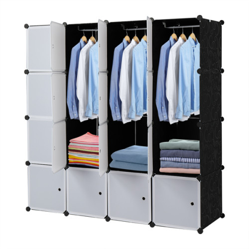 16 Cube Organizer Stackable Plastic Cube Storage Shelves Design Multifunctional Modular Closet Cabinet with Hanging Rod White Doors and Black Panels