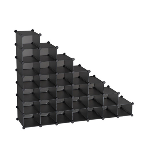 7-Tier Shoe Rack, Space Saving 28-Pair Plastic Shoe Units, Cabinet Storage Organizer, Ideal for Entryway Hallway Bathroom Living Room Gray