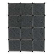 Cube Storage 12-Cube Closet Organizer Storage Shelves Cubes Organizer DIY Closet Cabinet with Doors White and Black Color
