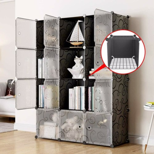 14  x 14  12 Cubes Storage Organizer with Doors - Add Metal Panel, Portable Closet Storage Cube Wardrobe Armoire, DIY Modular Cabinet Shelves, Storage for Clothes, Books, Shoes, Toys