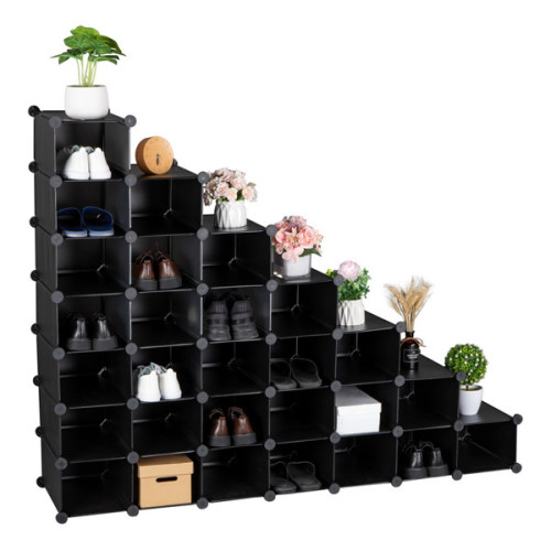 7-Tier Shoe Rack, Space Saving 28-Pair Plastic Shoe Units, Cabinet Storage Organizer, Ideal for Entryway Hallway Bathroom Living Room Black