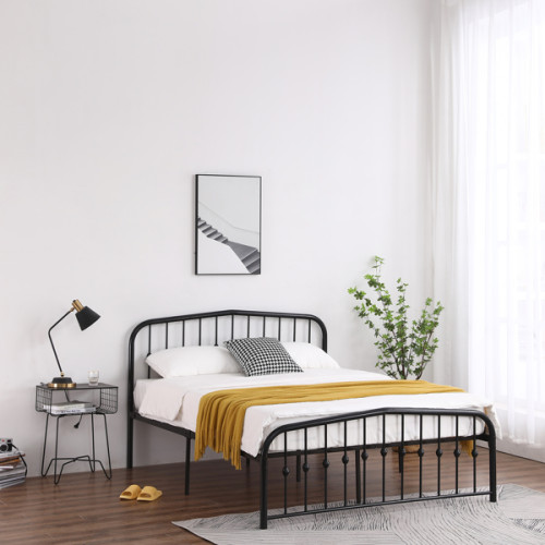 Single-Layer Curved Frame Bed Head and Foot Center Raised Vertical Pipe with Ball Decoration Queen Black Iron Bed