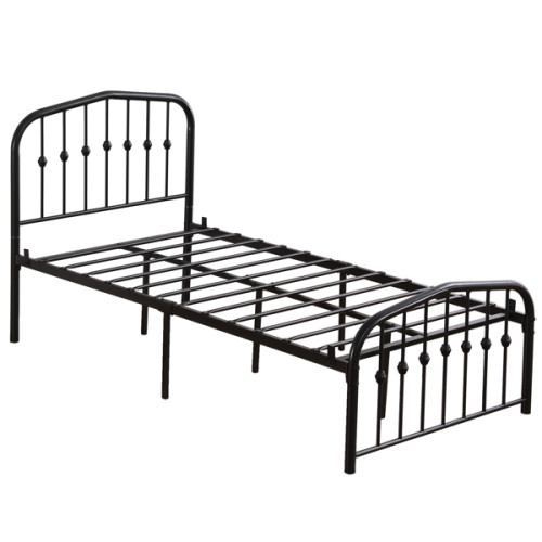 Single-Layer Curved Frame Bed Head and Foot Center Raised Vertical Pipe with Ball Decoration Twin Black Iron Bed