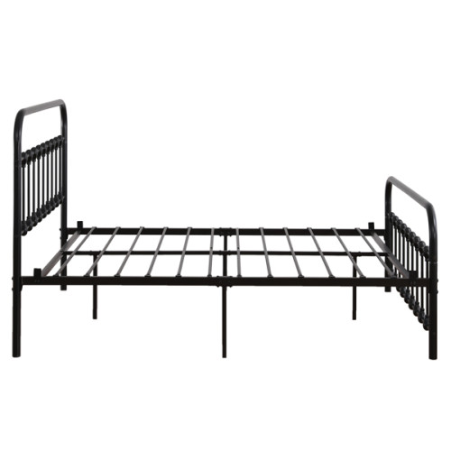 Single-Layer Curved Frame Bed Head and Foot Tube with Shell Decoration Full Black Iron Bed