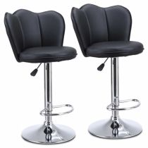 Modern Set of 2 Bar Stools with Back Dining Counter PU Chairs 360° Swivel Stool Black