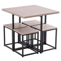 5 Piece Dining Table Set, Dining Set for 4, PVC Table and 4 Stools, Dark Oak Color & Black
