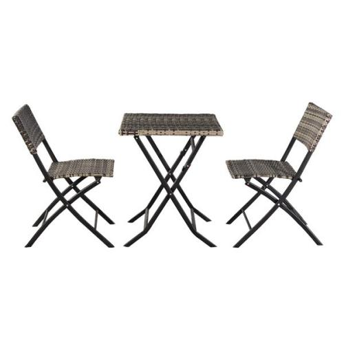Oshion Folding Rattan Chair Three-Piece Square Table-Grey