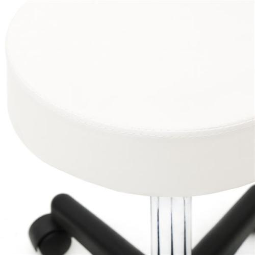 Round Shape Plastic Adjustable Salon Stool with Back White