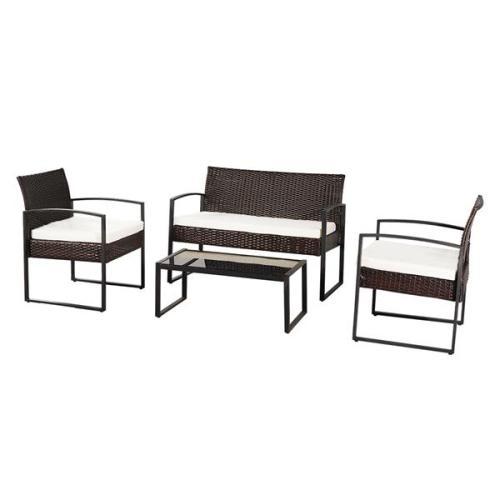 Oshion Outdoor Leisure Rattan Furniture Wicker Chair 4-piece Metal Armrest-Brown