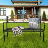 51  Patio Park Garden Outdoor Bench Patio Porch Chair Deck Iron Frame Black